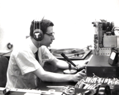 Henry Fogel at the controls at WONO, 1963 or 1964, Syracuse, NY.