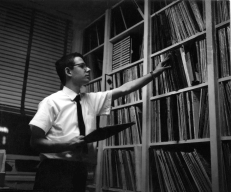 Henry Fogel in the record library at WONO, 1963 or 1964, Syracuse, NY.